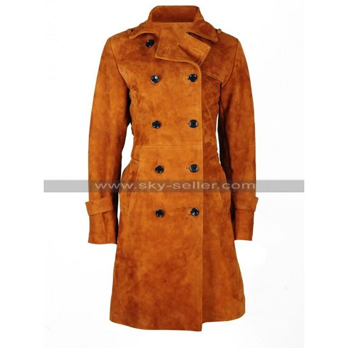 Lauren German Lucifer Chloe Decker Costume Brown Suede Leather Coat