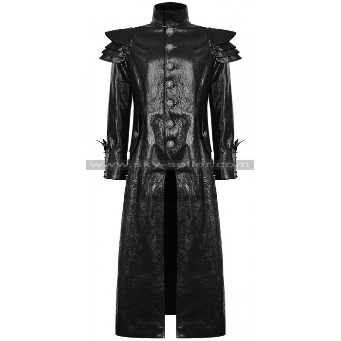 Dieselpunk Black Goth Slimfit Long Trench Leather Coat
