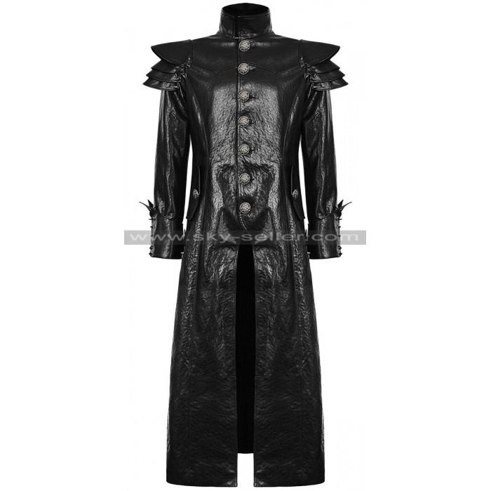 Dieselpunk Black Goth Slimfit Long Trench Leather Coat