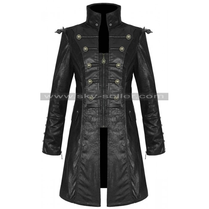 Punk Style Men's Black Military Trench Leather Coat