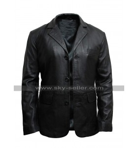 Mens Plain Black Coat Multi Pockets Slim Fit Leather Blazer