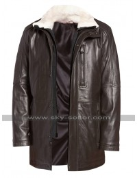 Mens Vintage Classic Winter Fur Collar Brown Leather Coat