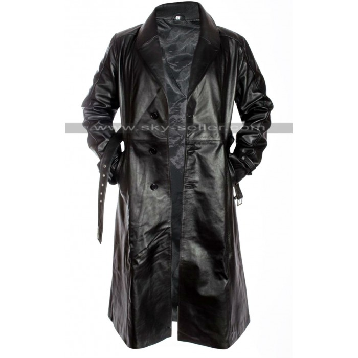 Mickey Rourke Sin City Marv Black Leather Trench Coat