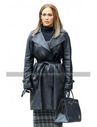 Maya Second Act Jennifer Lopez NYC New York Belted Black Leather Coat