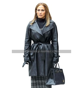 Jennifer Lopez NYC New York Belted Black Leather Trench Coat