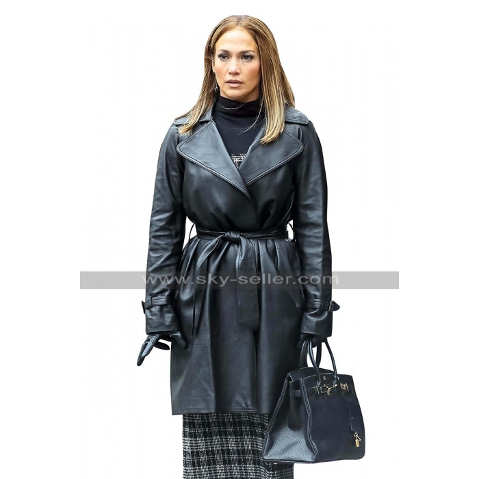 Maya Second Act Jennifer Lopez NYC New York Belted Black Leather Coat
