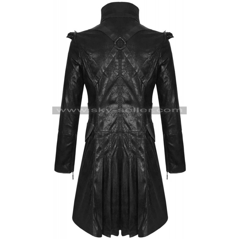 Style Men's Black Military Trench Leather Coat
