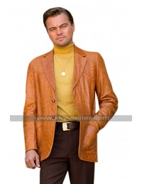 Once Upon a Time in Hollywood Leonardo DiCaprio (Rick Dalton) Brown Leather Blazer Coat