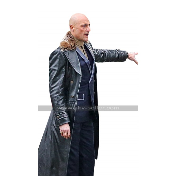 Mark Strong Shazam Dr. Thaddeus Sivana Fur Collar Black Costume Leather Coat