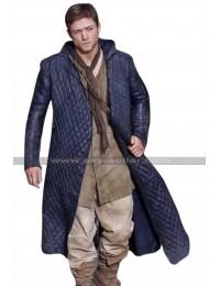 Robin Hood Taron Egerton Quilted Hoodie Black Leather Coat