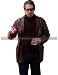 Hugh Grant The Gentlemen Fletcher Brown Leather Coat Blazer