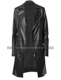 Womens Black Slim Fit Lapel Collar Mid Length Leather Trench Coat
