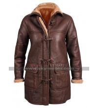 Womens B3 Aviator Pilot Fur Shearling Vintage Brown Hoodie Leather Coat