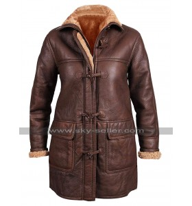 Womens B3 Aviator Pilot Fur Shearling Vintage Brown Hoodie Leather Coat
