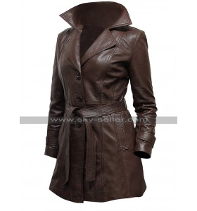 Womens Slim Fit Vintage Brown Lapel Collar Long Length Belted Leather Coat
