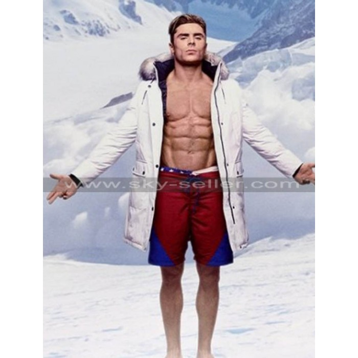 Matt Brody Baywatch Zac Efron Fur Collar White Coat