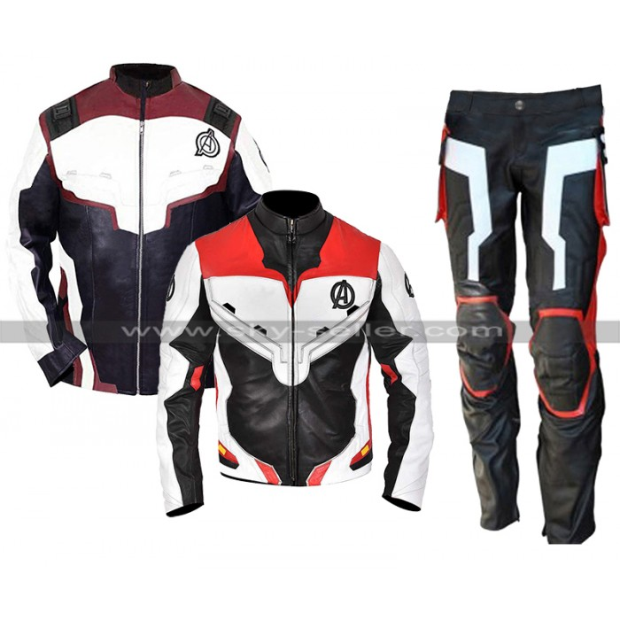 Mens Avengers Endgame Costume Quantum Realm Leather Jacket / Pants