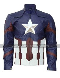 Captain America Avengers Endgame Blue Cosplay Costume Leather Jacket