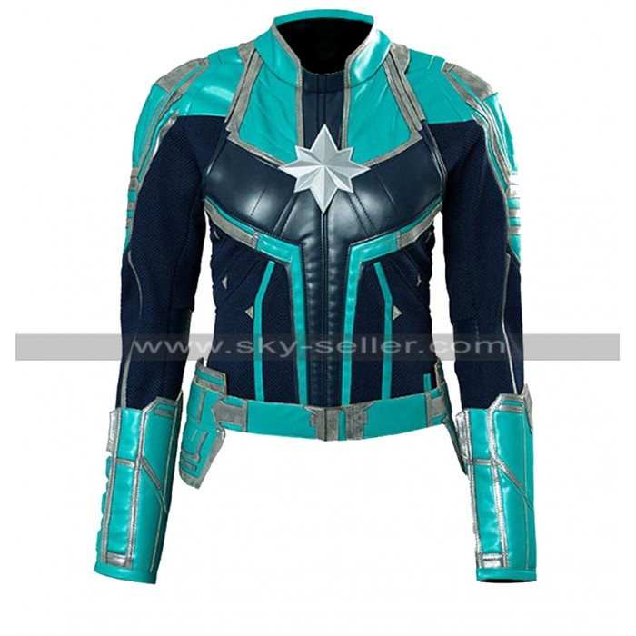 Captain Marvel Brie larson Cosplay Costume Green Leather Jacket