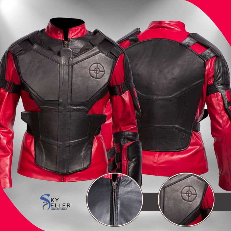 Suicide Squad Deadshot Will Smith Biker Real Leather Jacket
