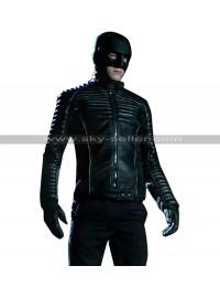 Gotham David Mazouz (Bruce Wayne) Batman Quilted Shoulders Black Leather Jacket