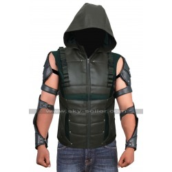 Green Arrow S4 Stephen Amell Hooded Leather Vest