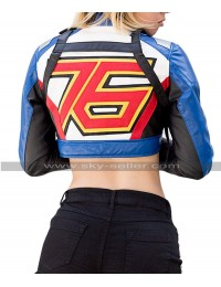 Womens Overwatch Soldier 76 Game Cosplay Crop Top Biker Costume Leather Jacket