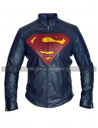 Superman Costume Clark Kent Quilted Man of Steel Kal-El Blue Biker Leather Jacket