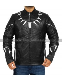 Black Panther T'challa Chadwisk Boseman Black Costume Leather Jacket
