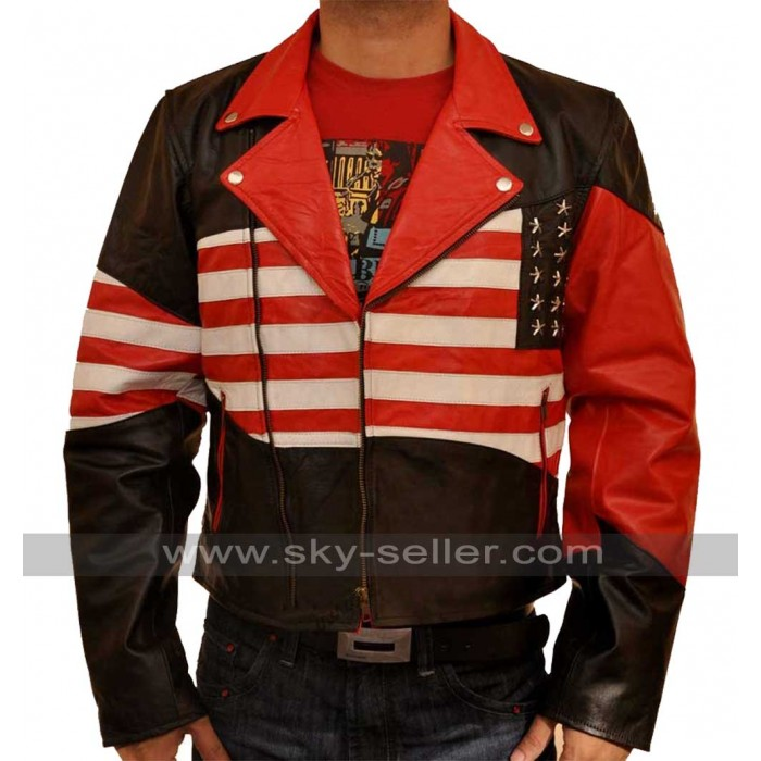 American Flag Mens Independence Day Leather Jacket