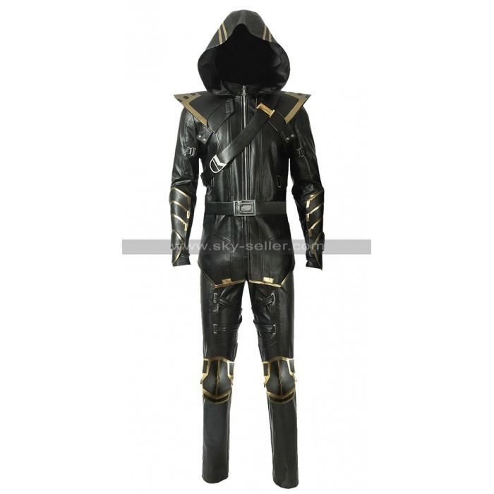 Avengers Endgame Ronin Costume Black Leather Hooded Jacket / Pants