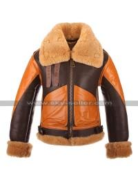 Mens RAF B3 Aviator Pilot Flight Bomber Fur Shearling Brown Leather Jacket
