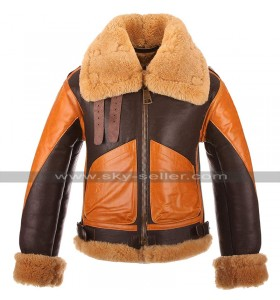 Mens RAF B3 Aviator Pilot Flight Bomber Fur Shearling Brown Leather Jacket