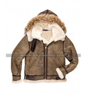 Mens RAF Pilot B3 Aviator Flight Bomber Hoodie Fur Shearling Brown Leather Jacket