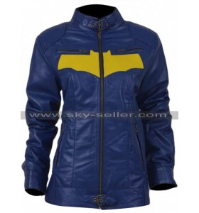 Batgirl Yellow Bat Logo Cosplay Leather Jacket