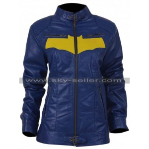 Batgirl Yellow Bat Logo Cosplay Leather Jacket