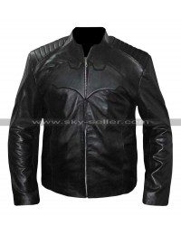 Batman Begins Christian Bale Motorcycle Leather Street Jacket