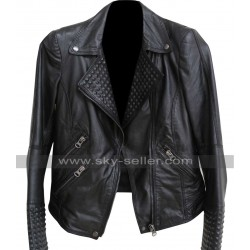 Biker Leather Spikes Black Jacket for Unisex