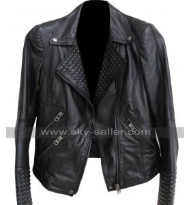 Biker Leather Spikes Black Jacket for Unisex