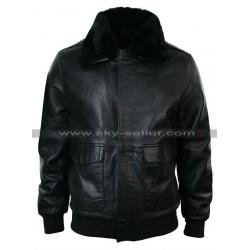 Black A2 Mens Classic Flight Bomber Pilot Fur Collar Jacket