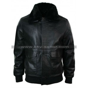Black A2 Mens Classic Flight Bomber Pilot Fur Collar Jacket