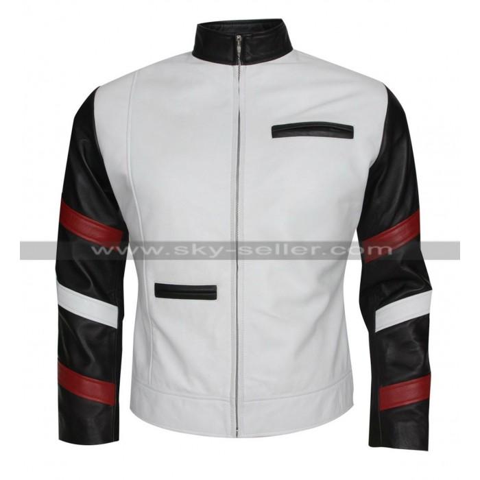 Bruce Lee Vintage Classic White Leather Jacket