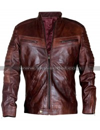 Cafe Racer Brown Biker Vintage Distressed Men's Leather Jacket
