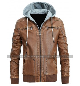Mens Cafe Racer Slim Fit Bomber Biker Vintage Hoodie Leather Jacket