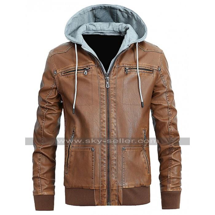 Mens Cafe Racer Slim Fit Bomber Biker Vintage Hoodie Leather Jacket