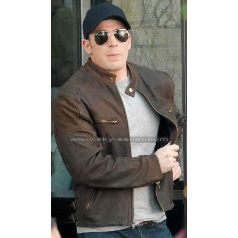 America Civil War Chris Evans Brown Leather Jacket