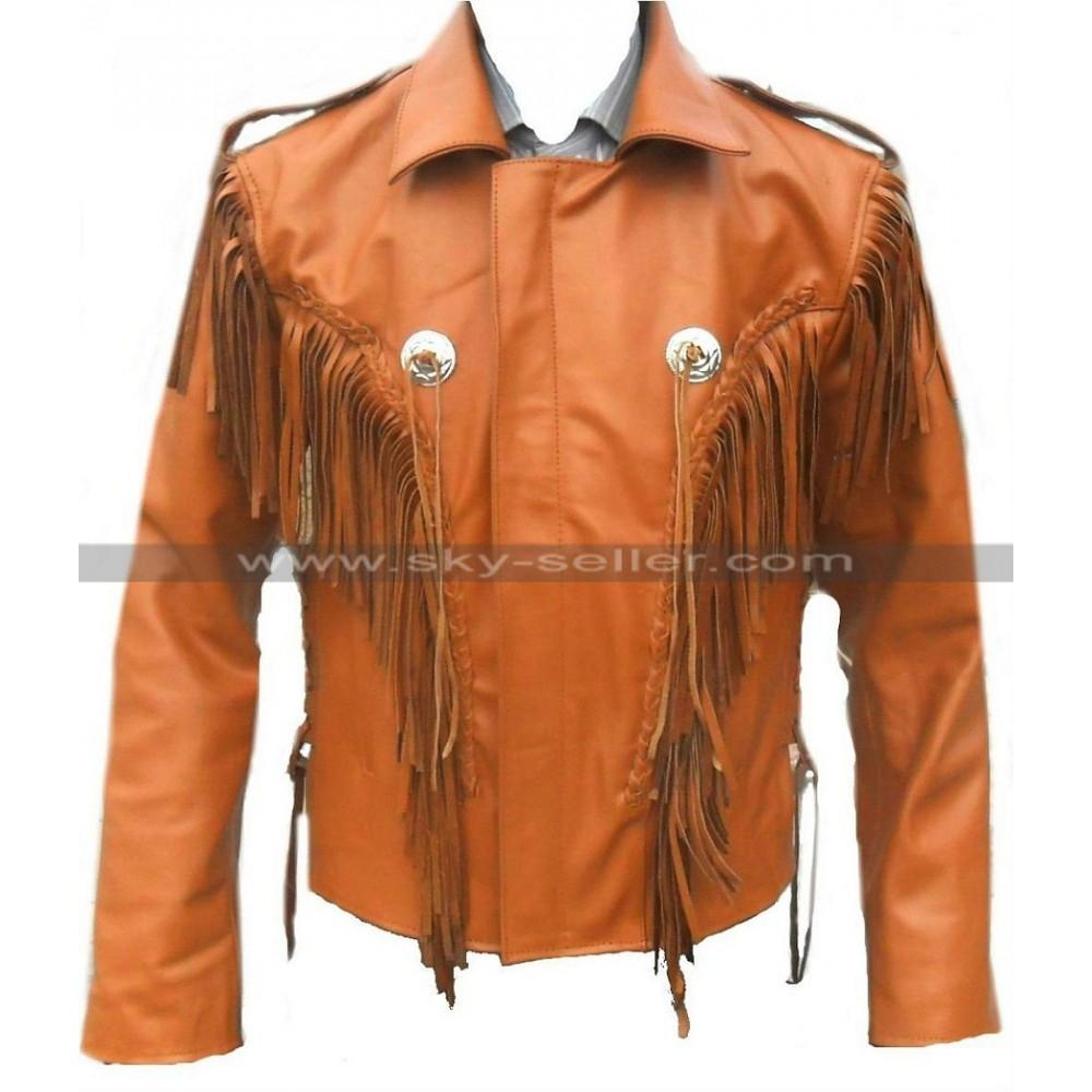 Celebrita X Fringe Brown Western Leather Jacket