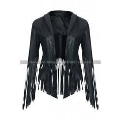 Crazy Stupid Love Cheryl Cole Fringe Leather Jacket