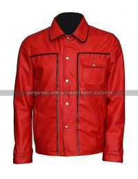 Elvis Presley The King Of Rock Vintage Shirt Collar Red Leather Jacket