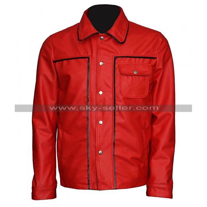 Elvis Presley The King Of Rock Vintage Shirt Collar Red Leather Jacket